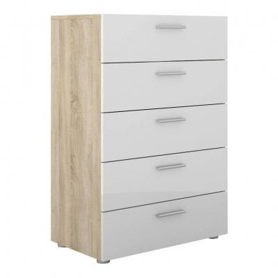 Pepe Chest of 5 Drawers in Oak with White High Gloss Fronts
