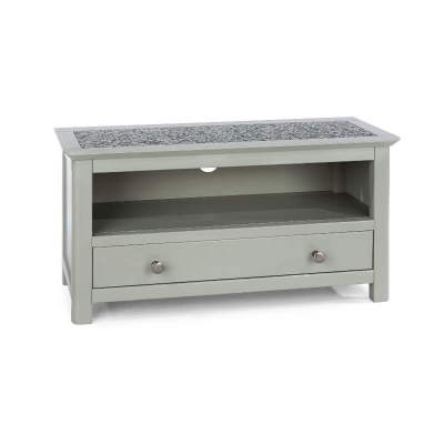 Perth Grey  1 Drawer TV Unit with Stone Inlay Top