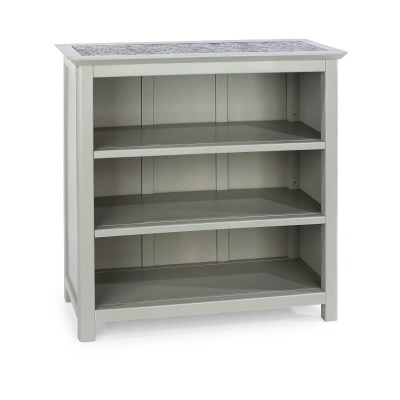 Perth Grey Low Bookcase with Stone Inlay