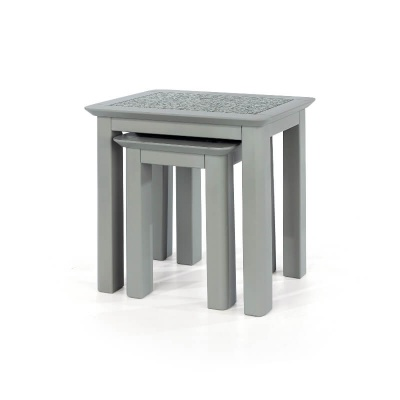 Perth Grey Nest of Two Coffee Tables with Stone Inlay
