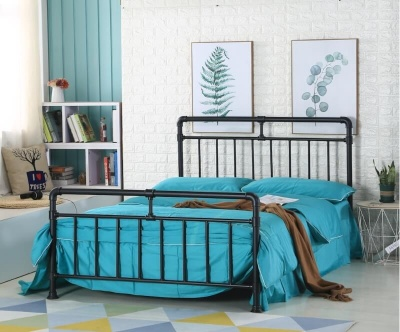 Pippa Black Metal Pipe Design - Double Bed Frame