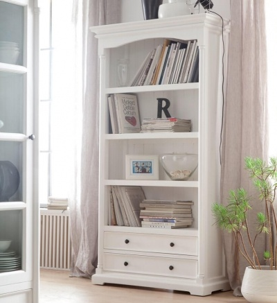 Provence White Tall Bookcase with Drawers
