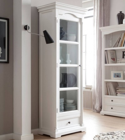 Provence White Glass Cabinet