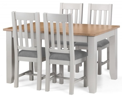 Richmond Soft Grey & Oak Extending Dining Table & Chairs