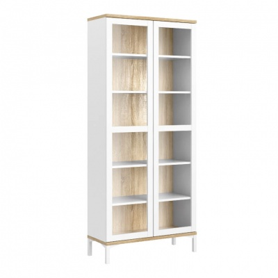 Roomers Display Cabinet Glazed 2 Doors in White and Oak