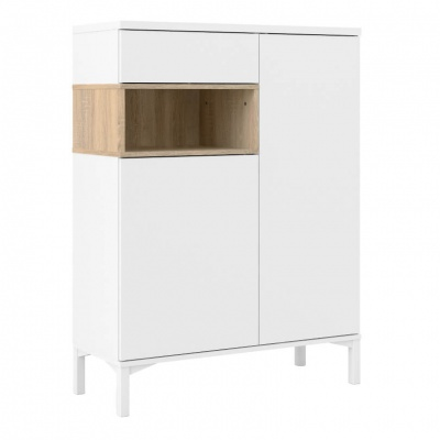 Roomers Sideboard 1 Drawer 2 Door in White and Oak