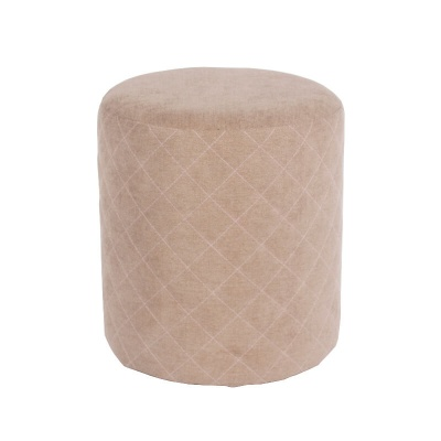 Sand Fabric Upholstered Round Tub Stool