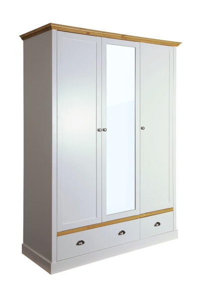 Sandringham Grey & Pine 3 Door 2 Drawer Wardrobe