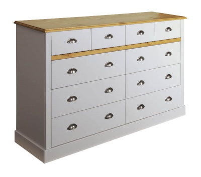 Sandringham Grey & Pine 4 + 6 Drawer Chest