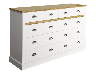 Sandringham White & Pine 4 + 6 Drawer Chest