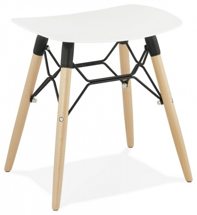 Scandi Style Low Stool with Wooden Legs