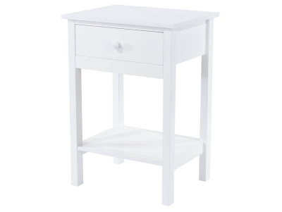 Shaker White 1 Drawer Bedside Table
