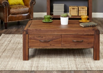 Shiro Walnut Coffee Table with Four Drawers