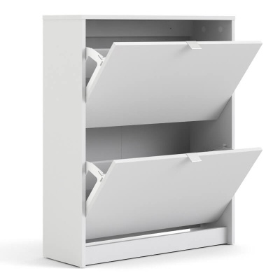 Shoes Shoe Cabinet with 2 Tilting & 2 Layers Doors in White