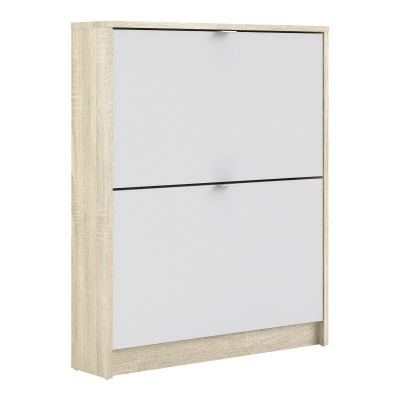 Shoes Shoe Cabinet with 2 Tilting Doors in Oak & White