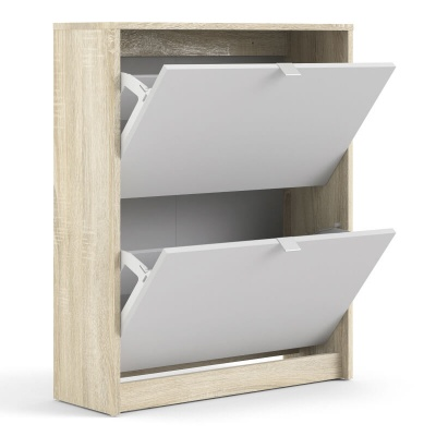 Shoes Shoe Cabinet with 2 Tilting & 2 Layers Doors in Oak & White