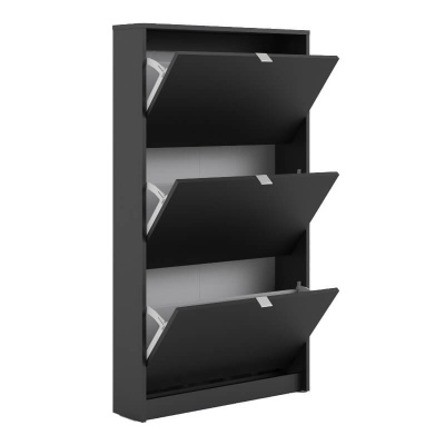Shoes Shoe Cabinet with 3 Tilting Doors in Black