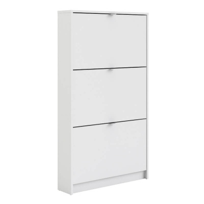 Shoes Shoe Cabinet with 3 Tilting Doors in White