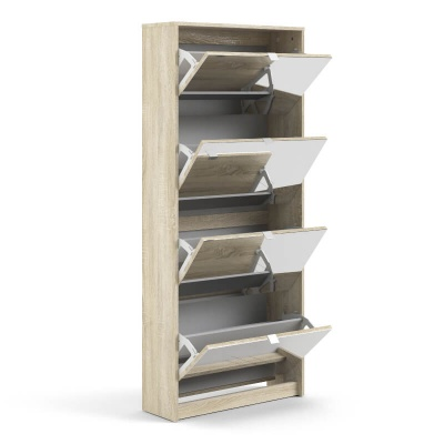 Shoes Oak Shoe Cabinet with 4 Mirror Doors & 2 Layers