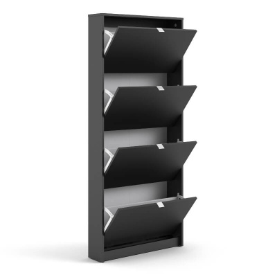 Shoes Shoe Cabinet with 4 Doors & 1 Layer Black