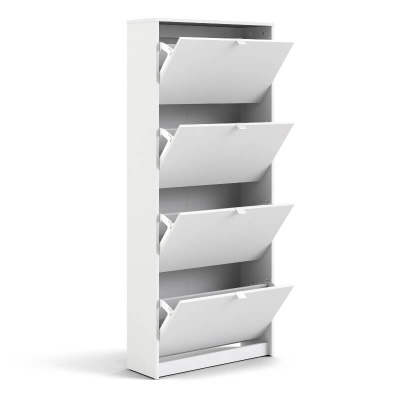 Shoes Shoe Cabinet with 4 Doors & 2 Layers White