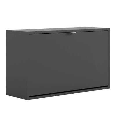 Shoes Wall Shoe Cabinet with Tilting Door and 2 Layers - Black