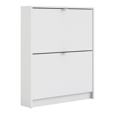 Shoes Shoe Cabinet with 2 Tilting Doors in White