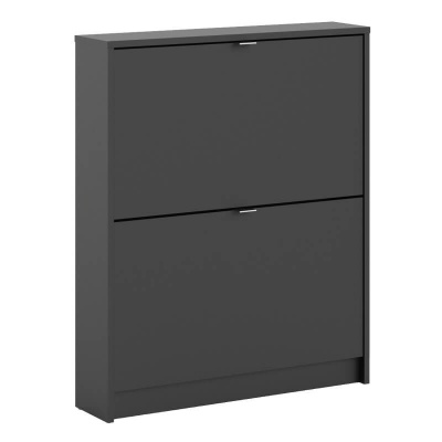 Shoes Shoe Cabinet with 2 Tilting Doors in Black