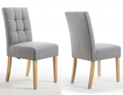 Silver Grey Linen Effect Stitched Waffle Back Dining Chairs with Natural Legs - Pair