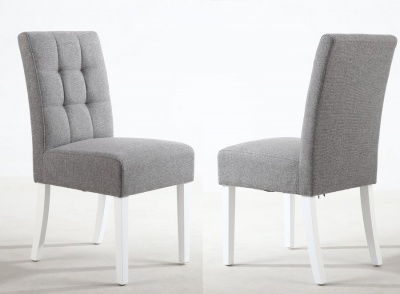Silver Grey Linen Effect Stitched Waffle Back Dining Chairs - Pair