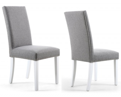 Silver Grey Linen Effect Stud Detail Dining Chairs - Pair