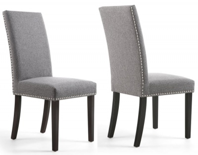 Steel Grey Linen Effect Stud Detail Dining Chairs with Black Legs - Pair