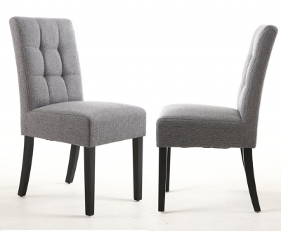Steel Grey Linen Effect Stitched Waffle Back Dining Chairs - Pair
