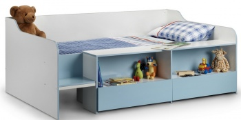 Stella Blue Low Sleeper with 2 Drawers & Shelving