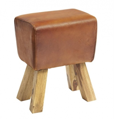 Turned Buck Genuine Leather Stool