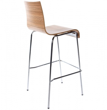 Tall Bentwood Bar Stool with Chrome Frame