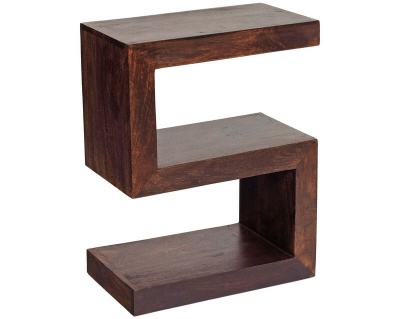 Toko Dark Mango S Shaped Display Unit - Solid Hardwood