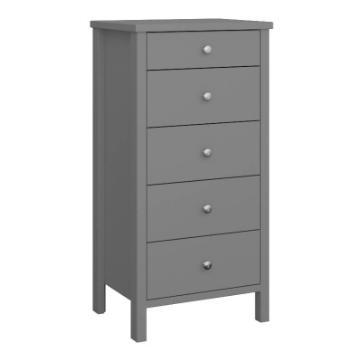 Tromso Grey  5 Drawer Narrow Chest