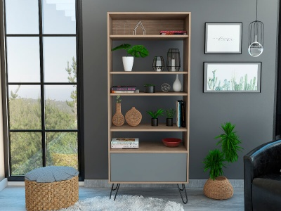 Vegas Display Bookcase with Door - Oak and Grey Finish
