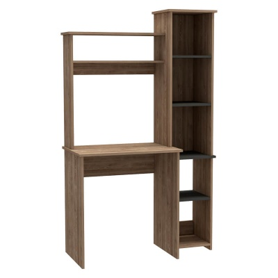 Vegas Tall Workstation with Shelf and Storage Unit - Oak and Grey Finish