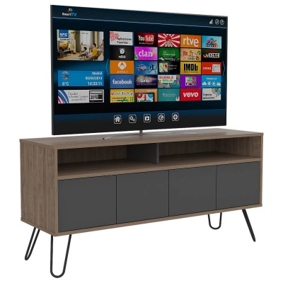 Vegas Wide Screen TV Rack with 4 Doors - Oak and Grey Finish