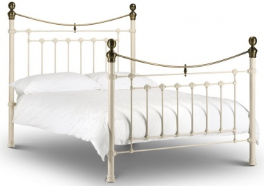 Victoria Stone White & Brass - King-Size Bed Frame