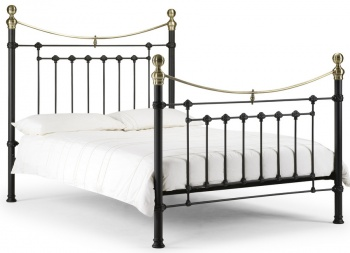 Victoria Satin Black & Brass - King-Size Bed Frame