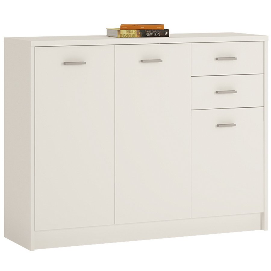 4 You 3 Door 2 Drawer Wide Cupboard - Pearl White