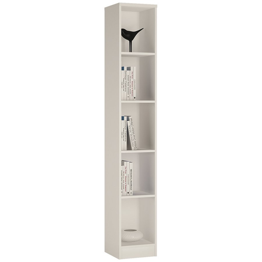 4 You Tall Narrow Bookcase - Pearl White