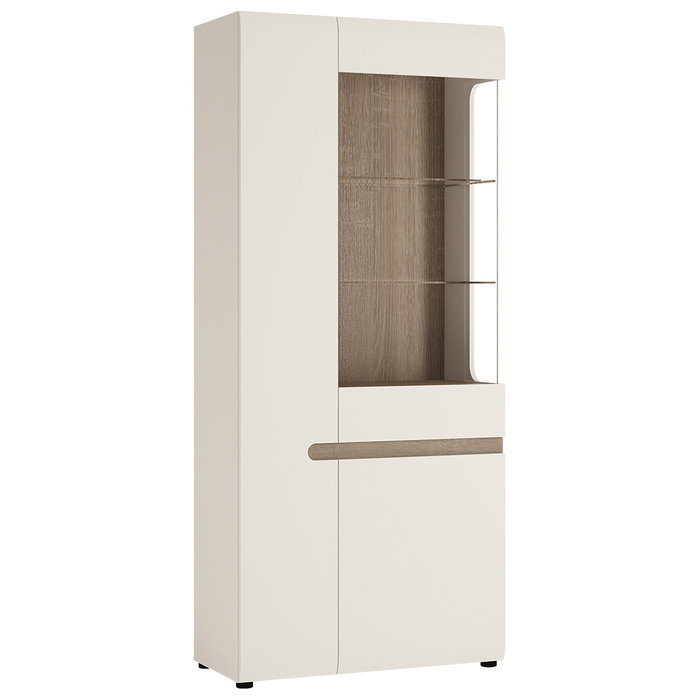 Chelsea Tall Glazed Wide Display Unit Left Hand - White with Truffle Oak Trim