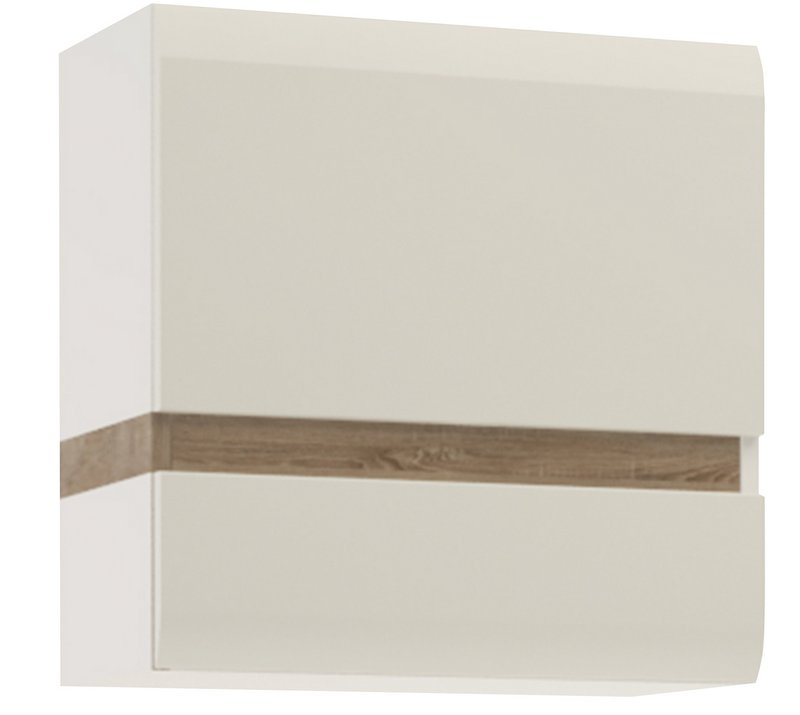 Chelsea Wall Cupboard - White with Truffle Oak Front Trim