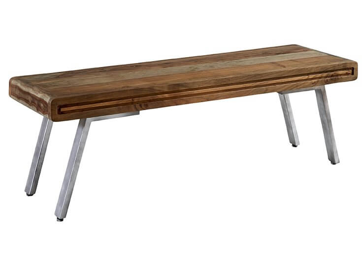 Aspen Dining Bench - Solid Hardwood & Reclaimed Metal