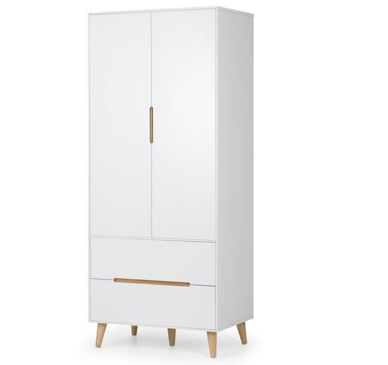Alicia Retro Scandinavian 2 Door 2 Drawer Wardrobe - White & Oak