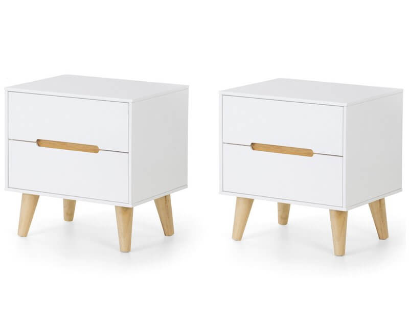 Alicia 2 Drawer Retro Bedside Table  White & Oak- Pair